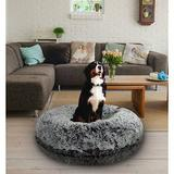 Bessie + Barnie Bagel Bolster Dog Bed w/Removable Cover, Mightnight Frost, X-Small