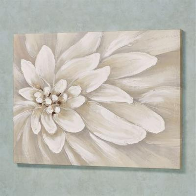 Bursting Bloom Canvas Wall Art Off White , Off White