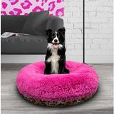 Bessie + Barnie Signature Extra Plush Faux Fur Shags Bagel Dog & Cat Bed, Chepard/Lollipop, Small