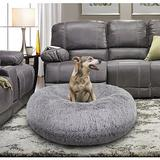 Bessie + Barnie Signature Extra Plush Faux Fur Shags Bagel Dog & Cat Bed, Siberian Grey, Small