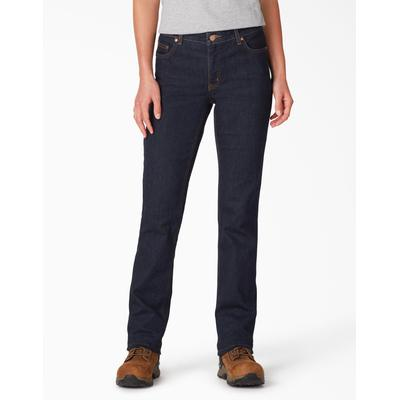 Dickies Women's Perfect Shape Straight Leg Stretch Denim Jeans - Rinsed Indigo Blue Size 8 (FD146)