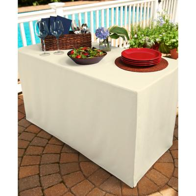 "Brylane Home Fresh Ideas Stain- & Wrinkle-Resistant Table Cover 34""Sq. (Ivory)"
