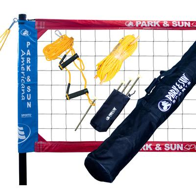 Park & Sun Spectrum Classic Professional Level Volleyball Net System Red/White/Blue