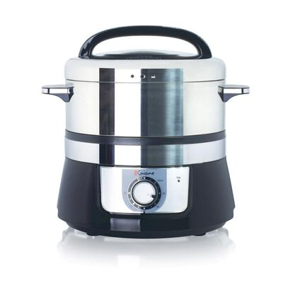 Stainless Steel Electric Food Steamer in Black/Stainless by Euro Cuisine