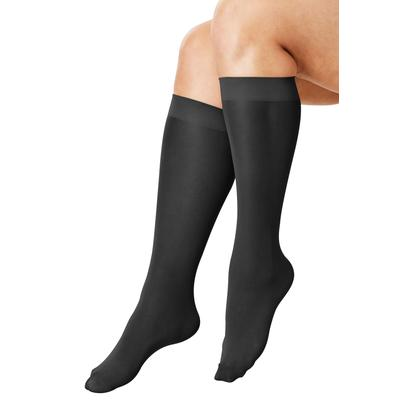 Plus Size Women's 3-Pack Knee-High Support Socks by Comfort Choice in Black (Size 1X)