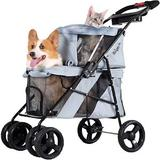 ibiyaya - ibiyaya Double Decker Bus Dog & Cat Stroller, Silver/Gray