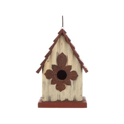 Glitzhome Distressed Solid Wood Bird House, 9.06-in
