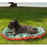 FurHaven Trail Pup Packable Stuff Sack Travel Pillow Dog Bed, Paprika & Camo-Paw, Small