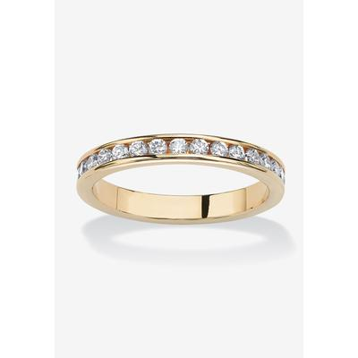 Plus Size Women's Yellow Gold Plated Simulated Birthstone Eternity Ring by PalmBeach Jewelry in April (Size 9)