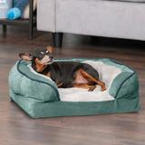 Perfect Comfort Velvet Waves Full Support Orthopedic Sofa Dog & Cat Bed, Celadon Green, Small