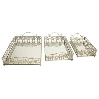 Wayfair For Rosdorf Park Annie Metal Mirror 3 Piece Vanity Tray Set Mirror Metal In Silver Size Large 12 17 W Extra Large Over 17 W Wayfair 13504 Ibt Shop