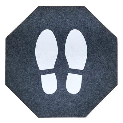 """M+A Matting 4464 Social Distancing Safety Floor Mat - 17"""" x 17"""", Adhesive Backing, Gray/White"""