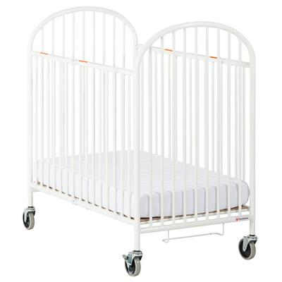 """Foundations 1331360 Pinnacle 24"""" x 38"""" Compact White Steel Folding Crib with Oversized Casters and 4"""" InfaPure Mattress"""
