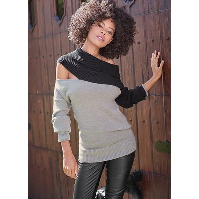 One Shoulder Sweater Sweaters - Black/Grey