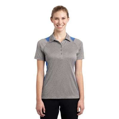 Sport-Tek LST665 Women's Heather Colorblock Contender Polo Shirt in Vintage Heather/Carolina Blue size XS | Polyester