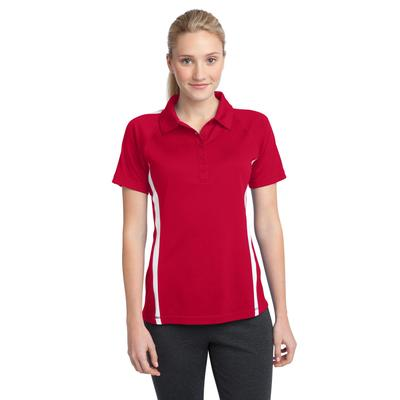 Sport-Tek LST685 Women's PosiCharge Micro-Mesh Colorblock Polo Shirt in True Red/White size Large | Polyester