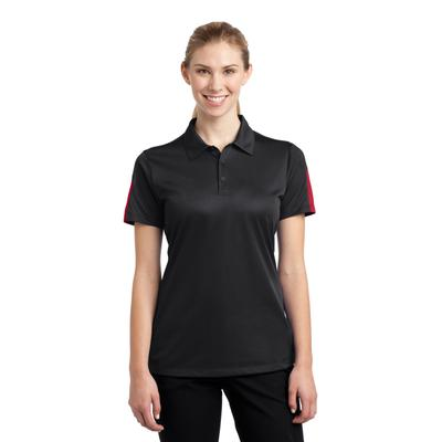 Sport-Tek LST695 Women's PosiCharge Active Textured Colorblock Polo Shirt in Black/True Red size 4XL | Polyester