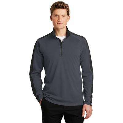 Sport-Tek ST861 Sport-Wick Textured Colorblock 1/4-Zip Pullover T-Shirt in Iron Grey/Black size Large | Polyester
