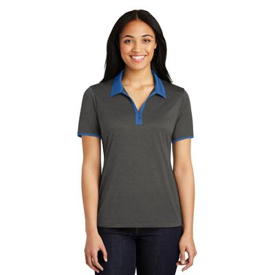 Sport-Tek LST667 Women's Heather Contender Contrast Polo Shirt in Graphite Grey size Large | Polyester