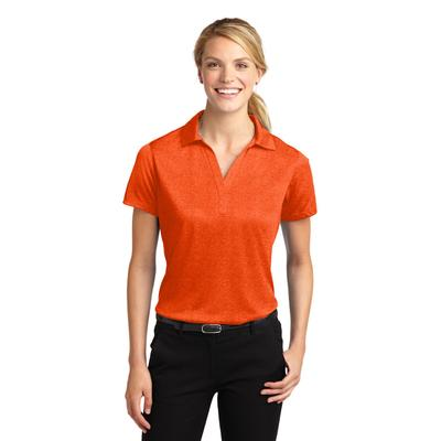 Sport-Tek LST660 Women's Heather Contender Polo Shirt in Deep Orange size XS | Polyester