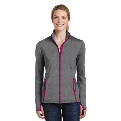 Sport-Tek LST853 Women's Sport-Wick Stretch Contrast Full-Zip Jacket in Charcoal Grey Heather/Pink Rush size Large | Polyester/Spandex Blend
