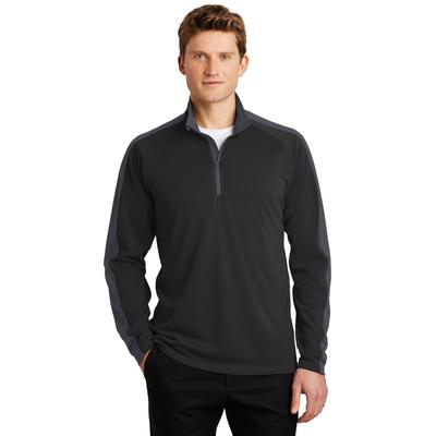 Sport-Tek ST861 Sport-Wick Textured Colorblock 1/4-Zip Pullover T-Shirt in Black/Iron Grey size Large | Polyester