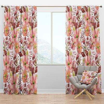Design Art Mid Century Botanical Ii Floral Semi Sheer Thermal Rod Pocket Single Curtain Panel Size Per Panel 52 W X 108 L Polyester Linen In Pink Sportspyder