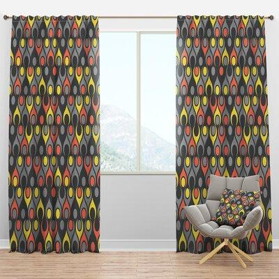 Design Art Drops I Geometric Semi Sheer Thermal Rod Pocket Single Curtain Panel Curtain Size Per Panel 52 W X 108 L Polyester Linen In Gray Sportspyder