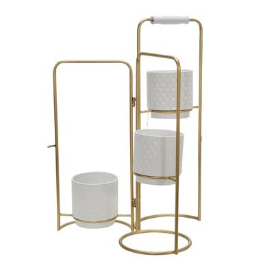 """""""Metal 22"""""""" 3-Tier Foldable Planters, White/Gold - Sagebrook Home 14915-02"""""""
