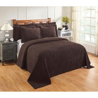 Jullian Collection in Bold Stripes Design Bedspread, Size Queen in Chocolate by Better Trends