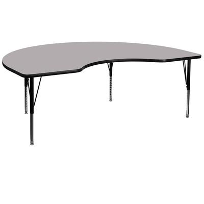 """Flash Furniture XU-A4872-KIDNY-GY-T-P-GG Kidney Shaped Activity Table - 72""""L x 48""""W, Laminate Top, Gray"""