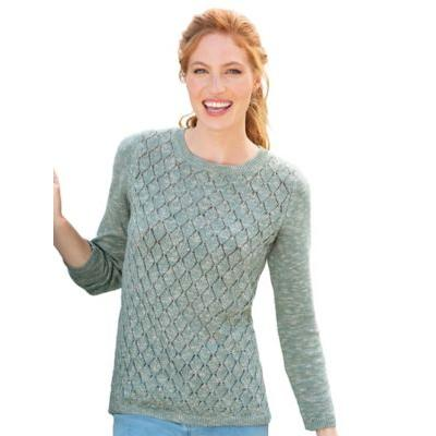 Women's Marled Pointelle Bateau-Neck Sweater, Sage Frost Marled P-L