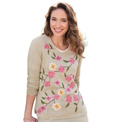 Women's Limited-Edition Wildflower V-Neck Sweater, Multi M