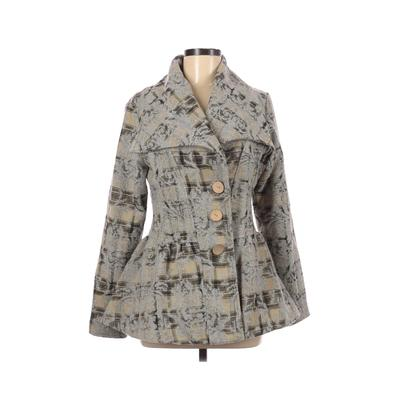 Nick & Mo Coat: Gray Floral Jackets & Outerwear - Size Medium