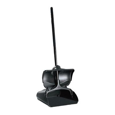 Rubbermaid FG253200BLA Lobby Pro Upright Dust Pan with Cover - Black on Sale