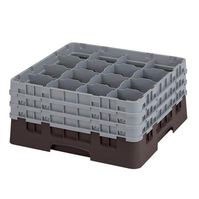 Cambro 16S738167 Camrack Glass Rack - (3)Extenders, 16 Compartment, 7 3/4H Brown on Sale