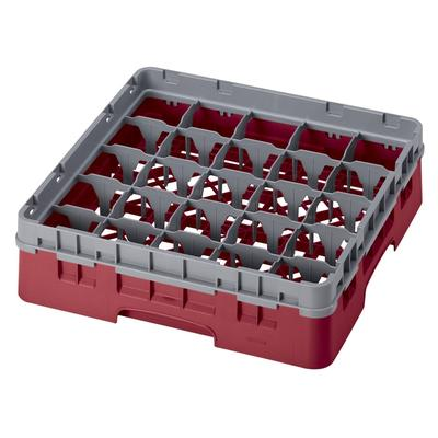 Cambro 25S318416 Camrack Glass Rack with Extender - 25 Compartment, Cranberry on Sale