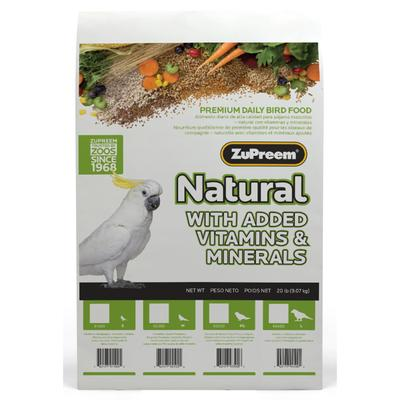 20 lbs. Complete and balanced nutrition with essential vitamins and minerals in every veggie flavored nugget. Highly palatable, highly digestible diet for cockatiels, lovebirds, Senegals, small conures, caiques, and other small parrots.