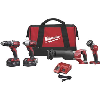 Milwaukee M18 18 Volt Lithium-Ion Cordless Power Tool Combo Set - 4-Tool Set, With 2 Batteries, Model2696-24
