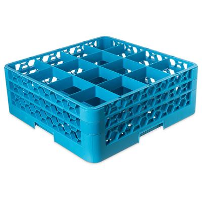 Carlisle RG16-214 Full-Size Dishwasher Glass Rack w/ (16) Compartments & (2) Extenders, Blue on Sale