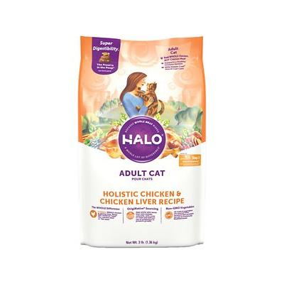 Halo Holistic Chicken & Chicken Liver Recipe Adult Dry Cat Food, 3-lb bag