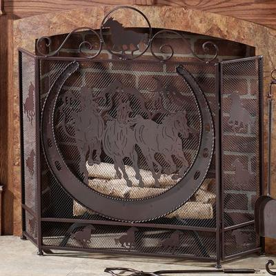 Thundering Hooves Fireplace Screen Brown , Brown