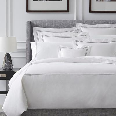Grande Hotel Sham - White with Grey Embroidery, King - Frontgate