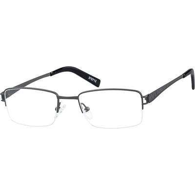 Zenni Mens Lightweight Rectangle Prescription Glasses Half-Rim Gray Frame Titanium 375712