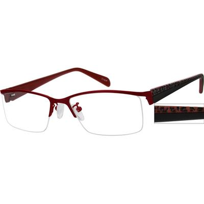 Zenni Women's Rectangle Prescription Glasses Half-Rim Red Plastic Frame