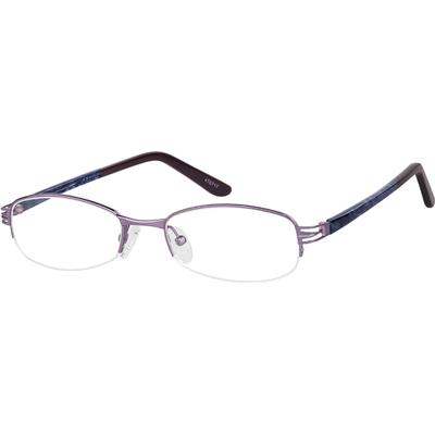 Zenni Women's Oval Prescription Glasses Half-Rim Purple Plastic Frame