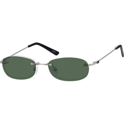 Zenni Lightweight Oval Prescription Glasses W/ Snap-On Sunlens Silver Stainless Steel Frame