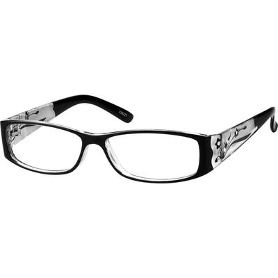 Zenni Women's Rectangle Prescription Glasses Black Plastic Frame
