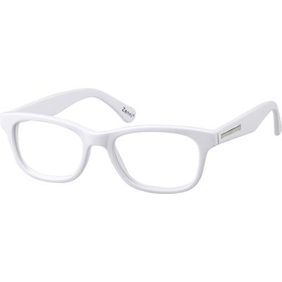 Zenni Womens Oval Prescription Glasses White Frame Plastic 487030