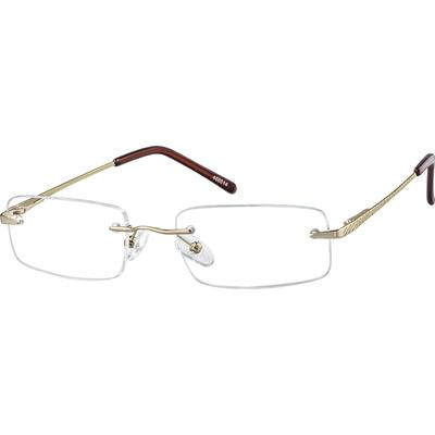 Zenni Men's Lightweight Rimless Prescription Glasses Gold Stainless Steel Frame